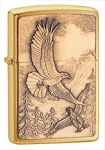 Soaring eagle on brushed brass finish