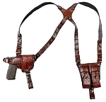 CUSTOM HAND-MADE GUN DOUBLE THICK REINFORCED LEATHER EXOTIC SKIN / YOUR PREFERENCE OF EXOTIC SKIN. PRICE NEGOTIABLE. DOUBLE THICK REINFORCED LEATHER SHOULDER HOLSTER. CALL 954-804-4381.