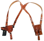CUSTOM HAND-MADE GUN DOUBLE THICK REINFORCED LEATHER SEMI-AUTO HORIZONTAL SHOULDER HOLSTER RIG. ATTACHES TO YOUR BELT. INCLUDES 2 VERTICAL MAGAZINE POUCHES. CLICK HERE.