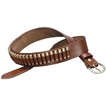 REVOLVER AMMUNITION CUSTOM LEATHER GUN BELT - DOUBLE THICK LEATHER FINISHED ON BOTH SIDES