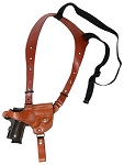 CUSTOM HAND-MADE GUN DOUBLE THICK REINFORCED LEATHER SINGLE HORIZONTAL SEMI-AUTO SHOULDER HOLSTER RIG. CLICK HERE.