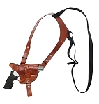 CUSTOM HAND-MADE GUN DOUBLE THICK REINFORCED LEATHER HORIZONTAL REVOLVER SINGLE SHOULDER HOLSTER. CLICK HERE.
