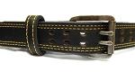 DOUBLE PRONG GUN BELT. SPECIAL STITCHING DOUBLE THICK REINFORCED LEATHER BELT