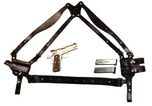 "TOM'S ""LOWER BACK STRAP SHOULDER HOLSTER RIG"" - DESIGNED FOR ENHANCED STABILIZATION OF THE ENTIRE RIG. INCLUDES TWO VERTICAL MAGAZINE POUCHES. CLICK HERE."