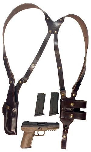 "TOM'S ""VERTICAL CLASSIC"" - CUSTOM HAND-MADE DOUBLE THICK REINFORCED LEATHER SEMI-AUTO SHOULDER RIG. OPEN TOP VERTICAL HOLSTER, MUZZLE COVERED WITH LEATHER. BACK OF HOLSTER ATTACHES TO GUN BELT. INCLUDES 2 VERTICAL MAG POUCHES ON OPPOSITE SIDE. CLICK HERE."