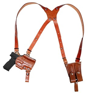 "TOM'S ""ANGLED STEEL LEATHER ENFORCER""  - CUSTOM HAND-MADE DOUBLE THICK REINFORCED LEATHER OPEN TOP ANGLED SHOULDER HOLSTER RIG. STEEL REINFORCED. INCLUDES 2 VERTICAL MAGAZINE POUCHES, ATTACHES TO YOUR BELT. CLICK HERE."
