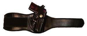 "TOM'S ""ANKLE HOLSTER PERSONAL DESIGN"" DOUBLE THICK STEEL MESH REINFORCED LEATHER, COMFORTED WITH THICK SHEEPS WOOL"