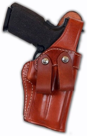 "TOM'S ""INSIDE WAIST BAND MASTERPIECE HOLSTER"" DOUBLE THICK STEEL MESH REINFORCED LEATHER WITH DUAL BELT LOOPS. NO THUMB STRAP."