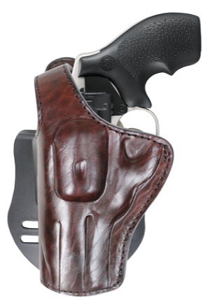 "TOM'S ""REVOLVER PADDLE HOLSTER / WITH THUMB BREAK"" DOUBLE THICK STEEL MESH REINFORCED LEATHER / HIGH END"