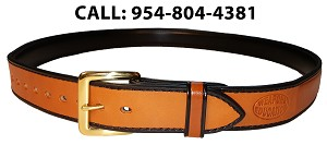 "TOM'S ""HIGHLIGHTED BLACK EDGE STYLISH GUN BELT"" REINFORCED DOUBLE THICK LEATHER GUN BELT"
