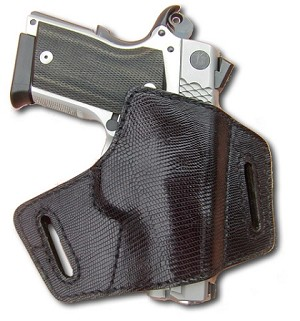 "TOM'S ""LIZARD 1911 BIKINI HOLSTER"" EXOTIC. DOUBLE THICK STEEL MESH REINFORCED LEATHER"