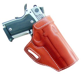 "TOM'S ""CROSSDRAW ANGLED HOLSTER - GREAT FOR DRIVING"" DOUBLE THICK STEEL MESH REINFORCED LEATHER"