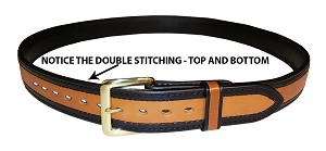"TOM'S ""DOUBLE STITCHED HIGHLIGHTED BLACK EDGE STYLISH GUN BELT"" REINFORCED DOUBLE THICK LEATHER GUN BELT"