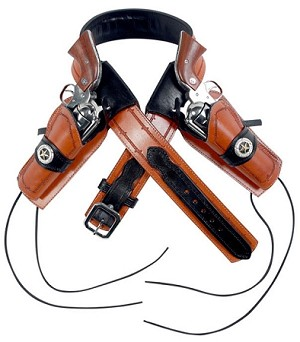 JEREMIAH LONGKNIFE TWO LEATHER REVOLVER HOLSTERS PLUS TWO TONE BELT. ALL HAND-MADE.