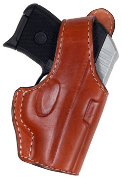 "TOM'S ""MICRO HOLSTER WITH / THUMB BREAK, BELT CLIP / POCKET CLIP"" CUSTOM MADE SEMI-AUTO. DOUBLE THICK STEEL MESH REINFORCED LEATHER"