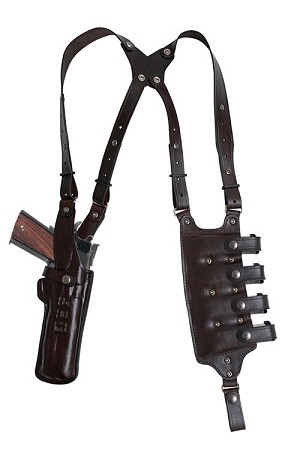 "TOM'S ""QUAD AMMO TERMINATOR"" - CUSTOM HAND-MADE DOUBLE THICK REINFORCED LEATHER VERTICAL SHOULDER HOLSTER WITH 4 HORIZONTAL MAGAZINE POUCHES. SEMI-AUTOMATIC ONLY. HOLSTER AND AMMO ATTACHES TO BELT. CLICK HERE."