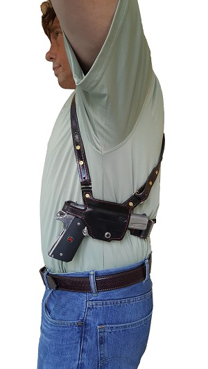 "TOM'S ""QUICK ACCESS"" - CUSTOM HAND-MADE DOUBLE THICK REINFORCED LEATHER SHOULDER RIG HOLSTER FOR QUICK ACCESS. (DOES NOT ATTACH TO YOUR BELT). INCLUDES MILITARY GRADE LOWER BACK STRAP. INCLUDES 2 VERTICAL MAGAZINE POUCHES. CLICK HERE."