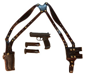 "TOM'S ""VERTICAL CLASSIC BASKETWEAVE MASTERPIECE"" - ALL INCLUSIVE. CUSTOM HAND-MADE DOUBLE THICK REINFORCED LEATHER SEMI-AUTO SHOULDER RIG. OPEN TOP VERTICAL HOLSTER, MUZZLE COVERED WITH LEATHER. BACK OF HOLSTER ATTACHES TO GUN BELT. CLICK HERE."