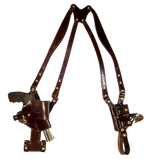 "TOM'S ""VERTICAL TILT-REVOLVER"" - PISTOL PIVOTS! QUICKEST DRAW! CUSTOM HAND-MADE DOUBLE THICK LEATHER. SHOULDER HOLSTER RIG. VERTICAL HOLSTER THAT MOVES FOR A COMFORTABLE FIT AND DRAW. BOTTOM OF STRAP ATTACHES TO ONE OF TOM'S QUALITY GUN BELTS. CLICK HERE"