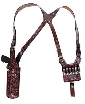 CUSTOM HAND-MADE GUN DOUBLE THICK REINFORCED LEATHER REVOLVER SHOULDER HOLSTER RIG - HOLSTER AND AMMO ATTACHES TO BELT. VERTICAL - SPEED LOADER POUCHES - OPTIONAL. CLICK HERE.