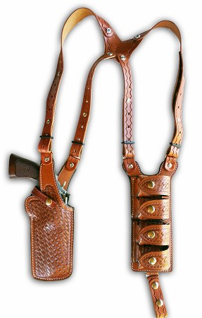 "TOM'S ""REVOLVER SPEED LOADER - SPECTER"" - CUSTOM HAND-MADE DOUBLE THICK REINFORCED LEATHER VERTICAL REVOLVER SHOULDER HOLSTER RIG. INCLUDES 4 SPEED LOADER POUCHES. BASKET-WEAVE IS SHOWN IN PHOTO. CALL 954-804-4381"