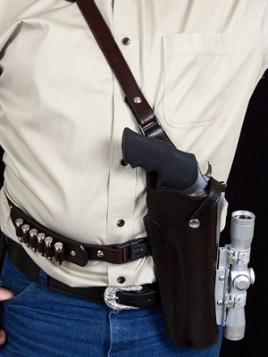 "TOM'S ""MASTER HUNTER - SPECIAL OPS"" - CUSTOM HAND-MADE DOUBLE THICK REINFORCED LEATHER HIGH POWERED REVOLVER SHOULDER RIG HOLSTER (HUNTING HOLSTER). CLICK HERE."