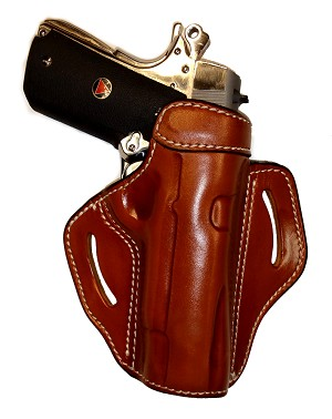 "TOM'S ""1911 HOLSTER SPECIALTY"" ACCESS SAFETY QUICKLY - DOUBLE THICK STEEL MESH REINFORCED LEATHER. CALL 954-804-4381 FOR ASSISTANCE WITH ORDERING."