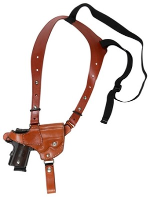 "TOM'S ""DISCRETE SHOULDER RIG"" - HORIZONTAL - CUSTOM HAND-MADE DOUBLE THICK REINFORCED LEATHER SINGLE HORIZONTAL SEMI-AUTO SHOULDER HOLSTER RIG. CALL 954-804-4381"