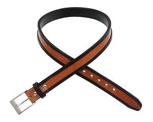 "TOM'S ""TWO TONE STYLISH GUN BELT"" REINFORCED DOUBLE THICK LEATHER GUN BELT"
